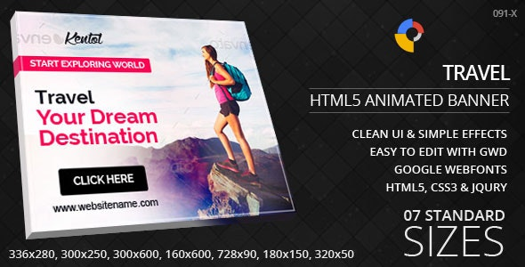 Travels & Tourism - HTML5 ad banners - CodeCanyon Item for Sale