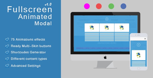 Fullscreen Animated Modal | Magnificent Responsive popup - CodeCanyon Item for Sale