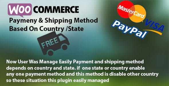 Payment & Shipping Method Based On Country / State
