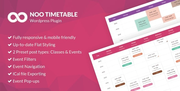 Noo Timetable - Responsive Calendar & Auto Sync WordPress Plugin - CodeCanyon Item for Sale