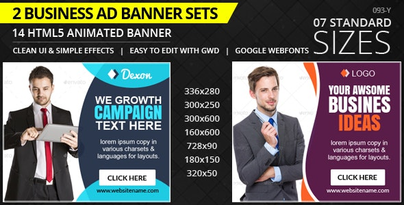 Business  - HTML5 ad banners Pack - CodeCanyon Item for Sale