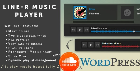 Sticky Music Player «Line-R» w/ SoundCloud — WP Edition - CodeCanyon Item for Sale
