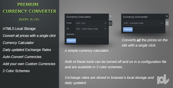 Premium Currency Converter for jQuery