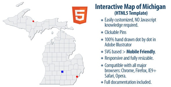 Interactive Map of Michigan - CodeCanyon Item for Sale