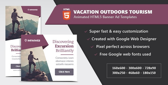 Vacation Outdoors Tourism - HTML5 Banner Ad Templates - CodeCanyon Item for Sale