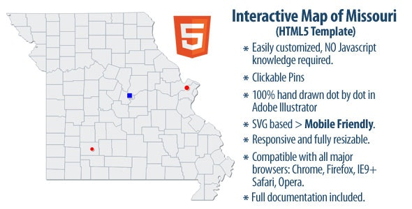 Interactive Map of Missouri - CodeCanyon Item for Sale