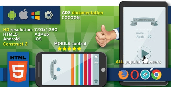 Color bounce - HTML5 game. Construct 2 + cocoon ADS (AdMob) - CodeCanyon Item for Sale