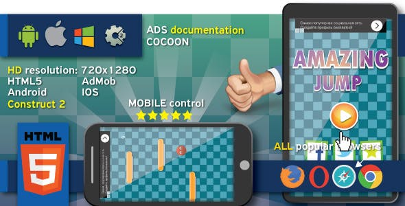 Amazing jump - HTML5 game. Construct 2 (.capx) + cocoon ADS (AdMob)