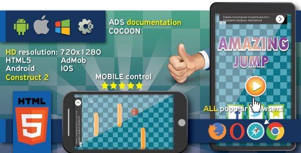 Amazing jump - HTML5 game. Construct 2 (.capx) + cocoon ADS (AdMob) - CodeCanyon Item for Sale