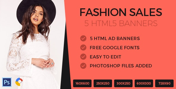 Fashion Sales Ads Banner HTML5 - GWD - CodeCanyon Item for Sale
