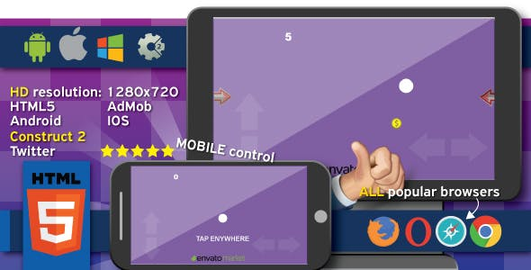 Gravity Game - HTML5, Costruct2 (.capx)