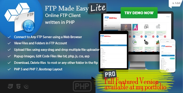 FTP Made Easy Lite - PHP FTP Client with Code Editor