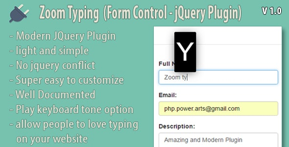 Zoom Typing (Form Control - jQuery Plugin) by php-baker