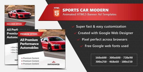 Sports Car Modern Banner Ads - HTML5 GWD Template - CodeCanyon Item for Sale