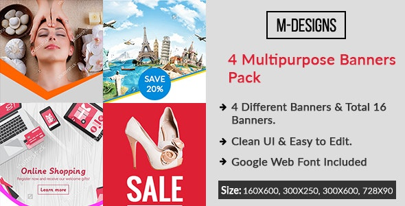Multipurpose HTML5 4 differrent Banners  - CodeCanyon Item for Sale