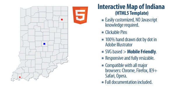 Interactive Map of Indiana - CodeCanyon Item for Sale