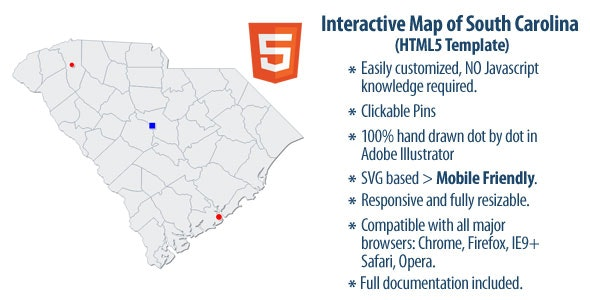 Interactive Map of South Carolina - CodeCanyon Item for Sale