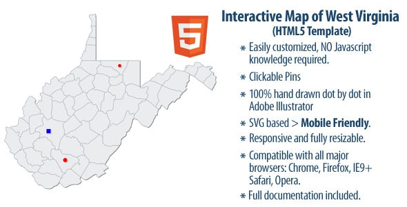 Interactive Map of West Virginia - CodeCanyon Item for Sale