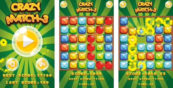 Crazy Match3 - HTML5 Game + Android + AdMob (Construct 3 | Construct 2 | Capx) - CodeCanyon Item for Sale