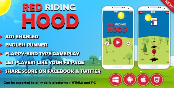 Red Riding Hood - Twitter & FB score post - InApp facebook page like -  ADS Enabled