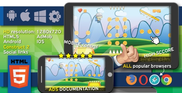 Jumpy Jax - HTML5 game. Construct 2 (.capx) + cocoon ADS (AdMob) - CodeCanyon Item for Sale