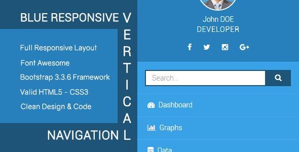 Blue - Responsive Vertical Dashboard Navigation - CodeCanyon Item for Sale