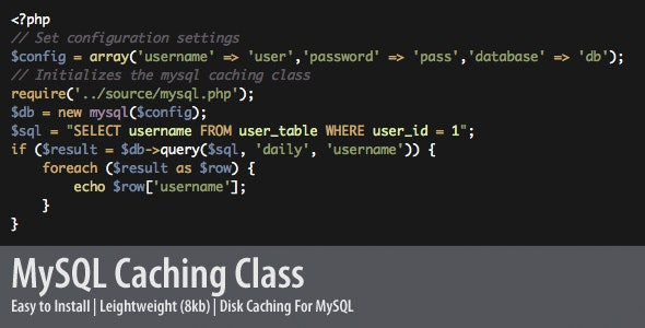 PHP MySql Caching Class - CodeCanyon Item for Sale