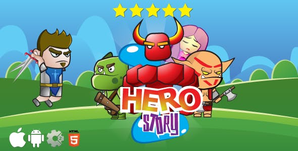 Hero story - HTML5 game. Construct 2 (.capx) + cocoon ADS