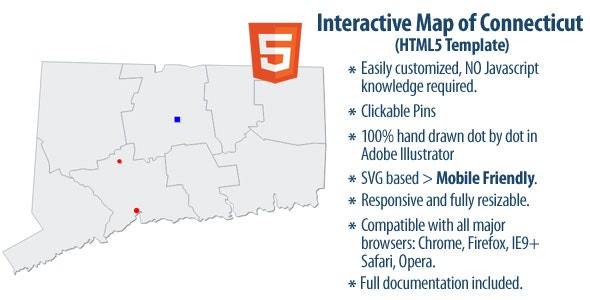 Interactive Map of Connecticut - CodeCanyon Item for Sale