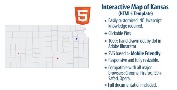 Interactive Map of Kansas - CodeCanyon Item for Sale