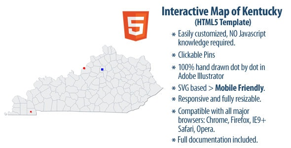 Interactive Map of Kentucky - CodeCanyon Item for Sale