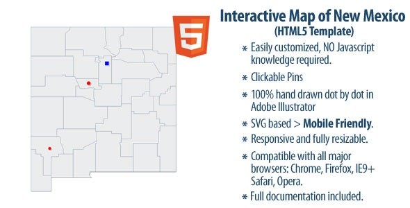 Interactive Map of New Mexico - CodeCanyon Item for Sale
