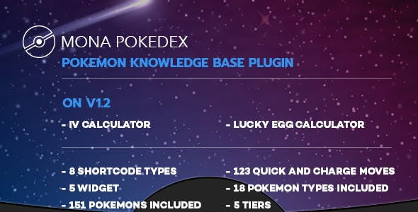 Mona Pokedex - Pokemon Go knowledge base wordpress plugin