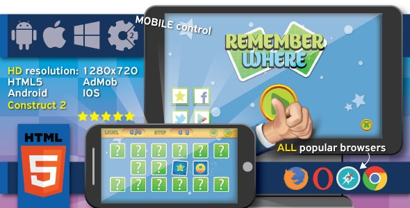 Remember where - HTML5 game + Android. (Construct2, capx) + ADS - CodeCanyon Item for Sale
