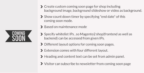 Coming soon page magento2