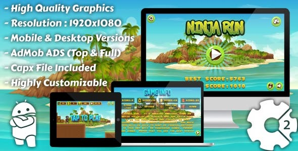 Ninja Run - HTML5 Game, Mobile Version+AdMob!!! (Construct 3 | Construct 2 | Capx)