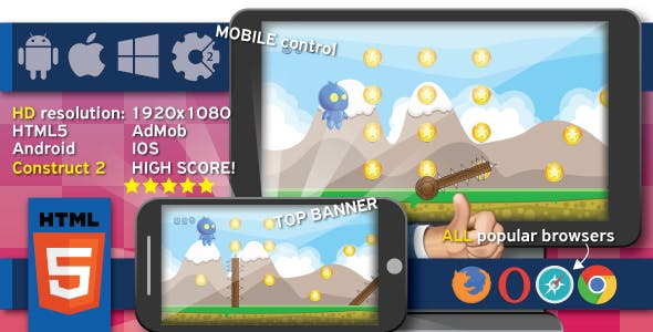 Danger running - HTML 5 game + Android. Construct 2 (capx) + ADS