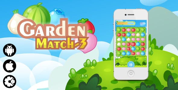 Garden Match-3 - HTML5 Mobile and Desktop game + Admob