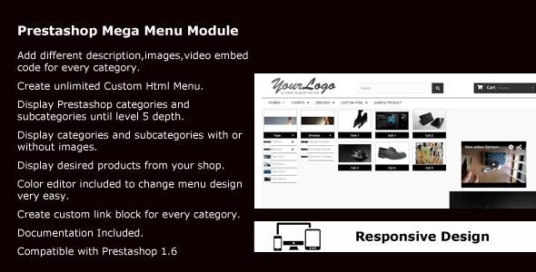 Prestashop Horizontal Mega Menu Module - CodeCanyon Item for Sale