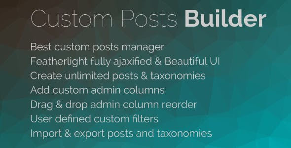 Custom Posts Builder Pro