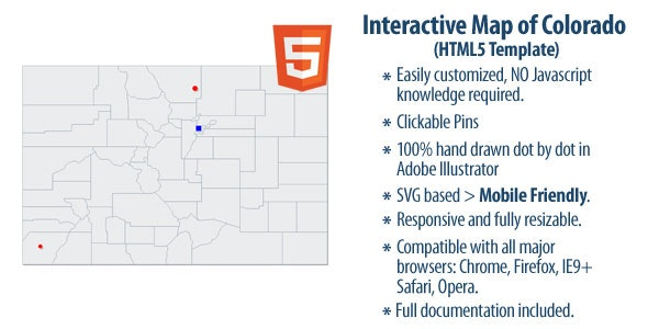 Interactive Map of Colorado - CodeCanyon Item for Sale