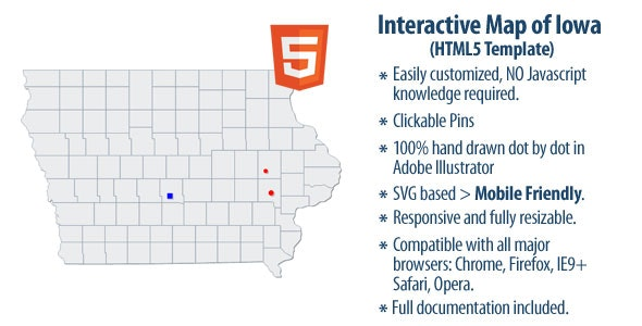 Interactive Map of Iowa - CodeCanyon Item for Sale
