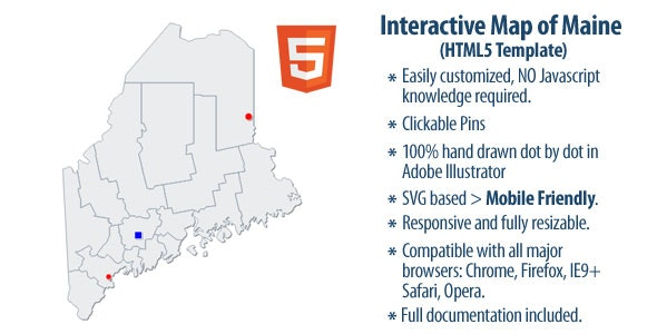 Interactive Map of Maine - CodeCanyon Item for Sale