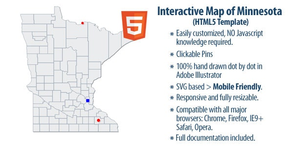 Interactive Map of Minnesota - CodeCanyon Item for Sale