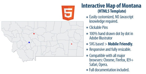 Interactive Map of Montana - CodeCanyon Item for Sale