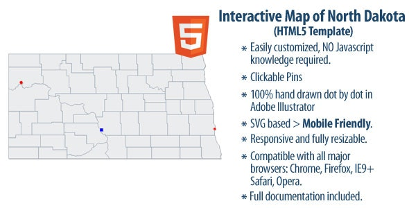 Interactive Map of North Dakota - CodeCanyon Item for Sale