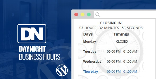 Day Night Business Hours WordPress Plugin - CodeCanyon Item for Sale