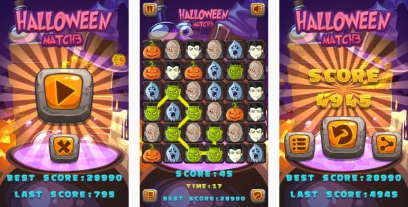 Halloween Match3 - HTML5 Game + Android + AdMob (Construct 3 | Construct 2 | Capx)