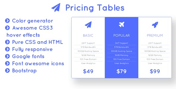 Flight - Responsive Bootstrap Pricing Tables with Color Generator