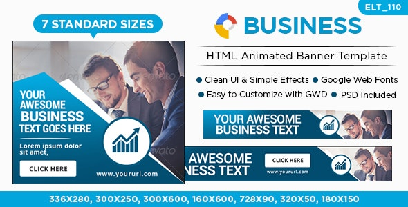 Business HTML5 Banners - GWD - 7 Sizes (Elite-CC-110) - CodeCanyon Item for Sale